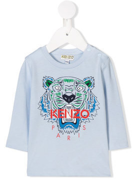 Kenzo Kids Tiger print long-sleeved T-shirt - Blue