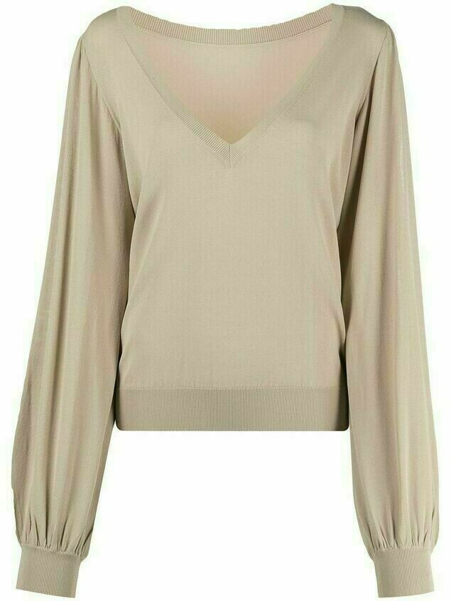 P.A.R.O.S.H. fine-knit bishop-sleeved blouse - Neutrals