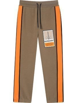 Burberry Kids graphic-print cotton track pants - Brown