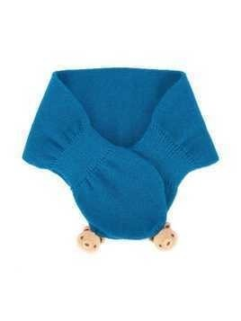 Familiar teddybear knitted scarf - Blue
