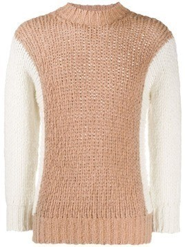 Maison Flaneur contrasting sleeve jumper - Brown