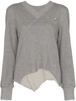 Blindness pearl appliqué sweatshirt - Grey