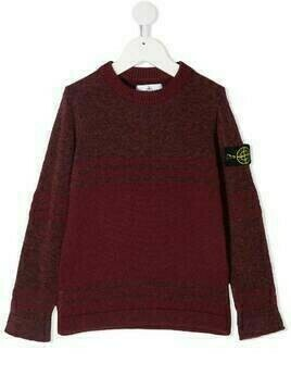 Stone Island Junior logo-patch sleeve jumper - Red