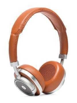 Master & Dynamic Brown and Silver Leather, Aluminium and Steel Over Ear Headphones
