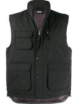 Andrea Crews patch pocket padded gilet - Black