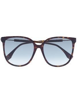 Fendi tortoiseshell logo sunglasses - Brown