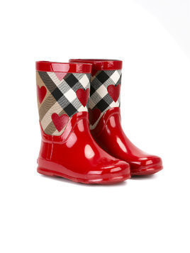 Burberry Kids checked print rain boots - Red