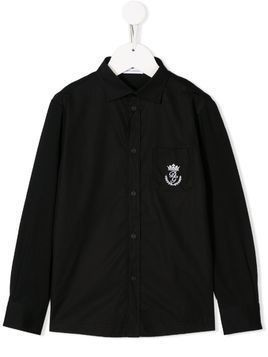 Dolce & Gabbana Kids logo embroidered shirt - Black