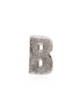 Carolina Bucci 18K white gold B Florentine finish charm - Metallic