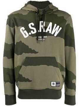 G-Star Raw Research logo camouflage print hoodie - Green