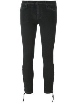 Hudson tie hem skinny cropped trousers - Black