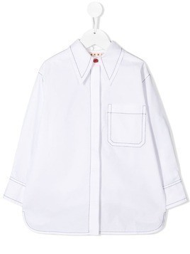 Marni Kids contrast stitching shirt - White