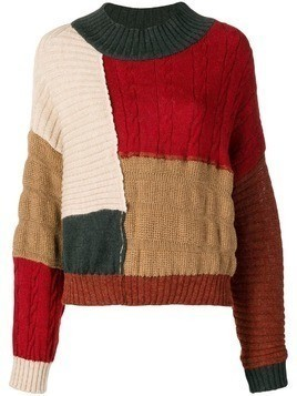 Miaoran colour-block jumper - Red