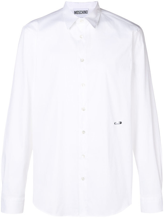 Moschino embroidered safety-pin shirt - White