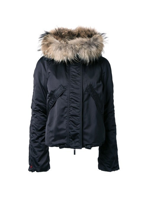 Kru fur hood ski jacket - Black