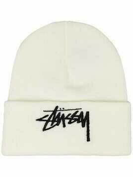 Stussy logo-embroidered beanie - White