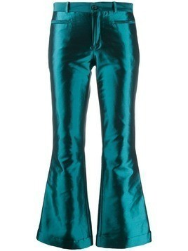 Each X Other metallic kick-flare trousers - Blue