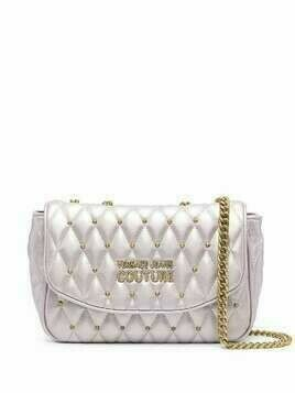 Versace Jeans Couture metallic-tone logo-plaque shoulder bag - PURPLE