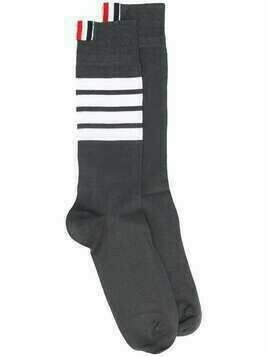 Thom Browne DARK GREY COTTON MID-CALF WHITE 4-BAR SOCKS - 025 DARK GREY