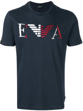 Emporio Armani logo patch T-shirt - Blue