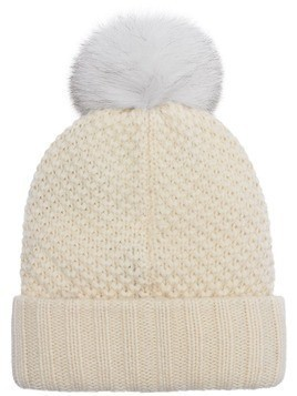 Burberry Fur Pom-Pom Beanie - White