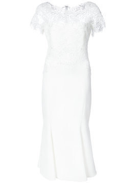Marchesa lace neck fitted dress - White