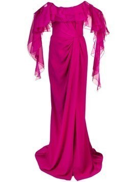 Marchesa off-the-shoulder gown - Pink
