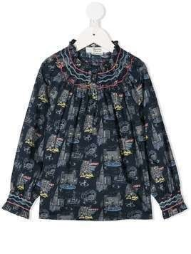 Bonpoint NYC-print balloon-sleeved top - Blue