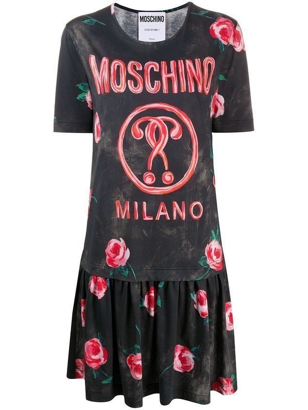 Moschino layered-effect logo T-shirt dress - Black