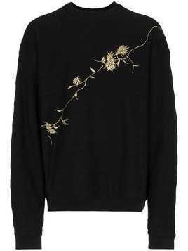 Haider Ackermann floral embroidered cotton sweatshirt - Black