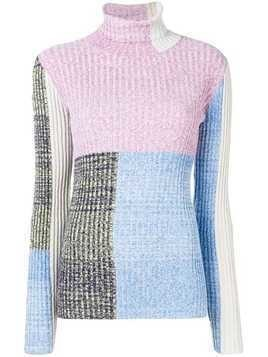 3.1 Phillip Lim Marled Mixed-Patchwork Turtleneck - Blue