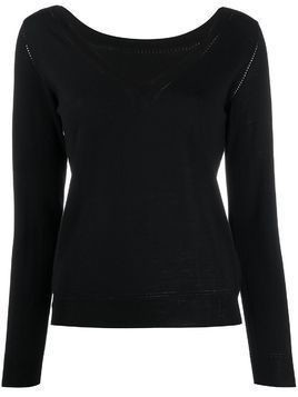 P.A.R.O.S.H. V-neck perforated knit top - Black