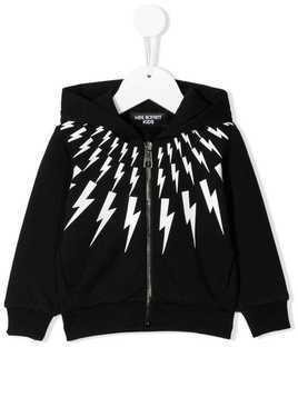 Neil Barrett Kids lightening print zip hoodie - Black