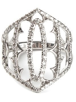 Loree Rodkin white gold and grey diamond pavé shield ring - Metallic