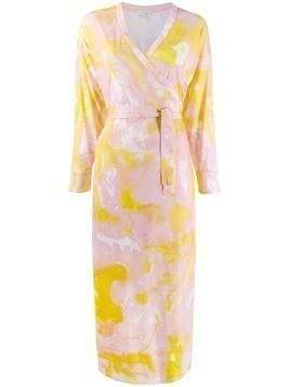 Malaika Raiss marble print wrap dress - PINK
