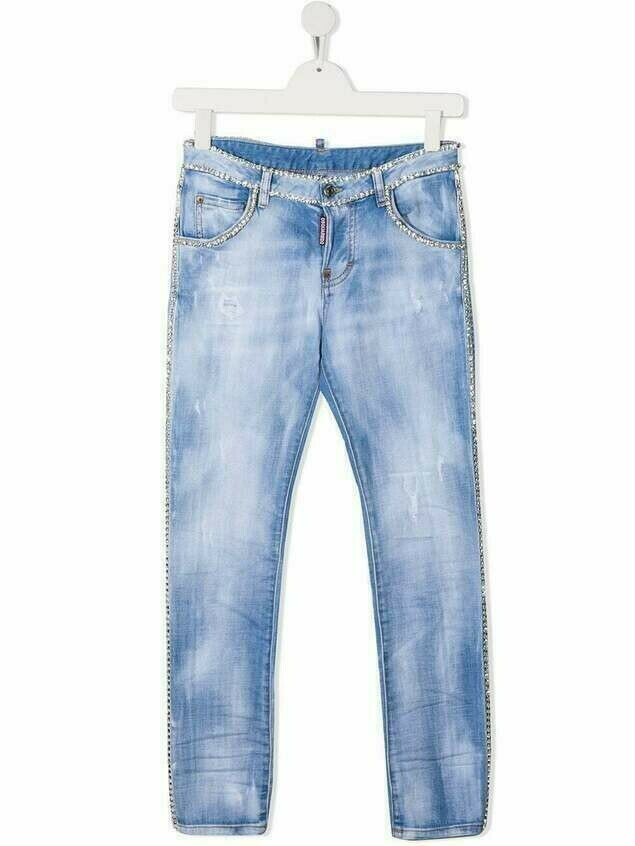 Dsquared2 Kids TEEN crystal-detail jeans - Blue