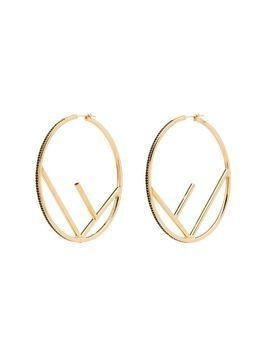 Fendi black crystal hoop earrings - GOLD