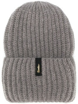 Borsalino logo-patch knit beanie - Grey