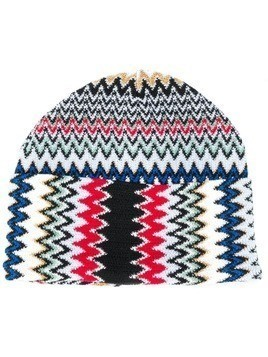 Missoni embroidered beanie hat - Blue