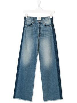 Les Coyotes De Paris stonewashed side stripe jeans - Blue