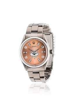 Jacquie Aiche pink Rolex eye stainless steel watch - Silver