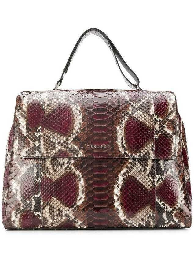 Orciani snakeskin effect tote bag - Brown