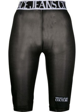 Versace Jeans Couture sheer cycling shorts - Black