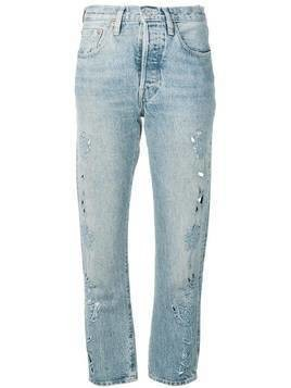 Levi's: Made & Crafted embroidered detail cropped jeans - Blue