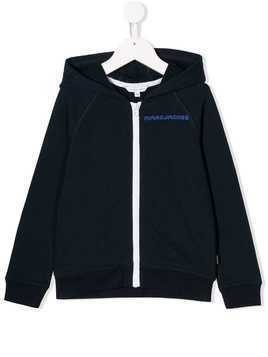 Little Marc Jacobs zip-up logo hoodie - Blue