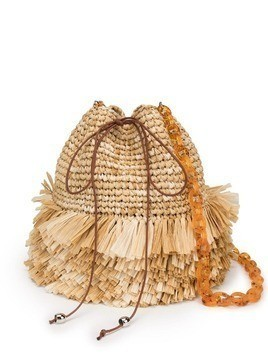 Carolina Santo Domingo fringed bucket bag - Brown