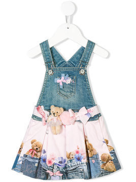 Lapin House denim printed teddy pinafore - Blue