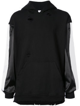 Alchemist embroidered back hoodie with panelled sleeves - Black