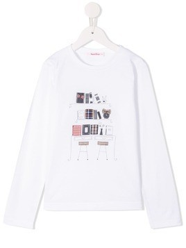 Familiar graphic print long-sleeve top - White