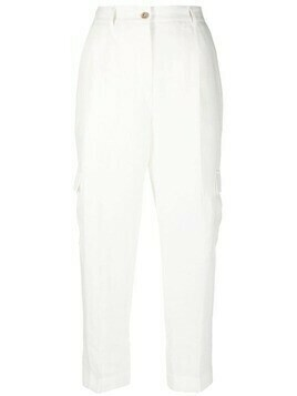Barba cropped linen trousers - White